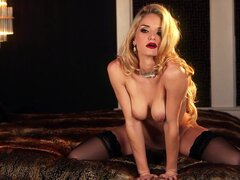 Sexy blonde is having intense solo