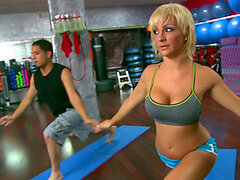 Sexy Blonde Yoga Instructor Leg Spreading and Hot Action