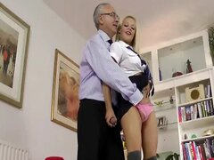 Hot blonde gets oral and fingered from this lucky old guy