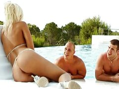 Beautiful Blonde Group Sex By The Pool