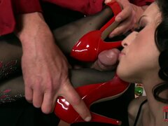 Two skanks use their feet and asses to please their hung lover