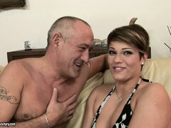 Chubby female in nice outfit undresses and gets licked by experienced lover