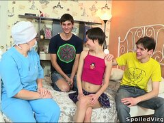 Naughty young teen Martina gets joined by two horny young boys and banged