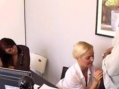 Office girl Barbara Summers gives a big blow job while her friend spectates