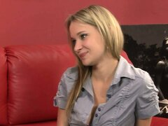 Blonde newbie Angel makes it a hot casting call when she gets naked