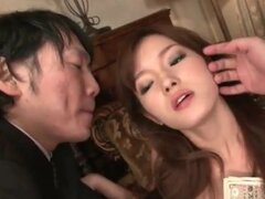Two guys fondle sexy girl Mei Haruka