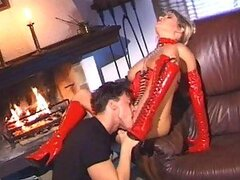 Red latex babe loves anal fucking and licking his balls