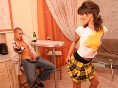 A neat teen removes her skirt for her man to pound his pecker into her