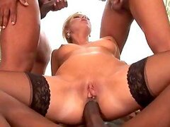 Blondie Gets Gangbanged By Black Dudes.
