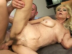Lovely cute babe gets her juicy old tight pussy fammed by massive pole