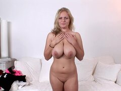 Busty babe Charley G takes off her nice panties