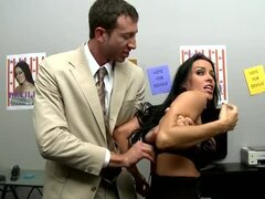 Satin blouse office girl pounded