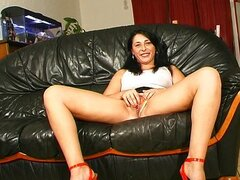 French chick anal fucking on sofa