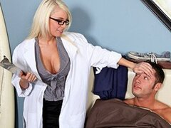 A beautiful big boobed nurse shows her naughty side as she takes care of a patient's prick