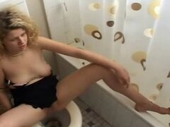 Voyeur Caught Amateur Blonde Hairy Room Mate Masturbating On Toilet
