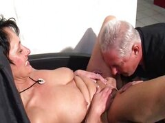 German mature woman sucking and riding a guy