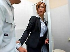 Sexy Japanese office babe having rough sex in the restroom