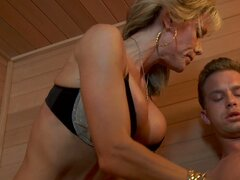 Jordan Lynn skinny busty mature woman blows cock...