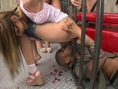 Rocco's world of feet fetish with a couple of babes sucking and face sitting