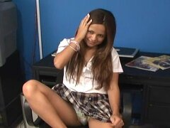 Young schoolgirl gets horny and eager