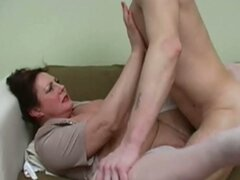 Mature big tits milf enjoying young cock in hardcore couch fucking