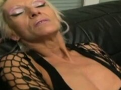Slutty blonde granny on a huge black cock