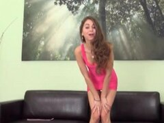 Skinny Riley Reid in skintight pink dress