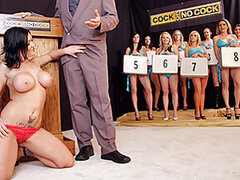 Welcome to Cock or No Cock, the game where you can win very big, or go home with nothing but a small wiener. Today, we have Claire as our lucky contestant and she looks like no beginner in dealing with the sizes. She will try to go all the way to win the