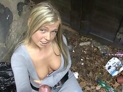 Lovely Blonde Amateur Handjobs and Takes Cum on Her Tits in Public