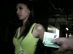 Slim amateur girl takes money and reamed