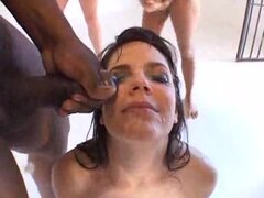 Bobbi Starr on her knees for hot bukkake