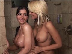 Rebeca Linares and Briana Blair Lesbian Shower and Fuck