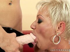 Plump older lesbian lets her barely legal GF fuck her with a strap-on