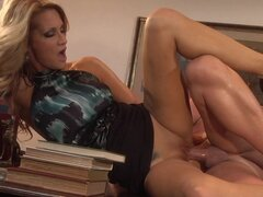 Slender beauty Jessica Drake gets cum on her tongue