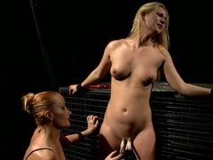 Linda Ray lets Katy Parker put clothes pegs on her nice pussy