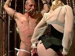 Blonde Beauty Sucking and Fucking a Tied Up Dude's Dick in Femdom Clip