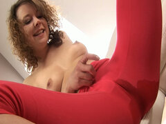 Dirty chick Kety pisses through her pants and teases her wet pussy