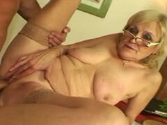 Saggy Titted Granny in Glasses and Stockings Fucks More