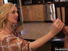 Julia Ann is thanking her handyman properly for her new kitchen