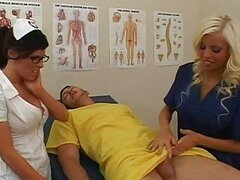 Two gorgeous stunning nurses sucking cock...