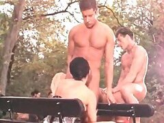 Monica and Rumika getting fucked by two guys outdoors