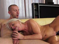 Old blonde Anett being fucked by a young dick