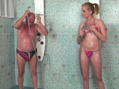 Laraan the hot blonde fucks a guy after taking a shower