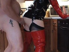 amateur slut in boots and gloves