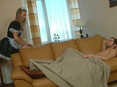 Hot Blonde Maid Wakes Him Up with a Blowjob...
