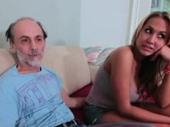 Grandpa getting a tit slap from a blonde whore
