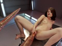 Hot chick with small tits get fucked by robot