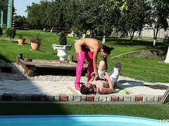 Sexy brunette in pink thigh high boots face sits her man in the back yard