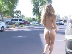 Nasty busty blonde Madison walks naked on the street