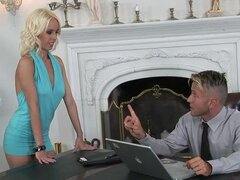 Angelina Rich seduces her boss and fucks him in his study